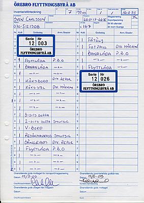 Magasinering-Inventarielista med kollinummer